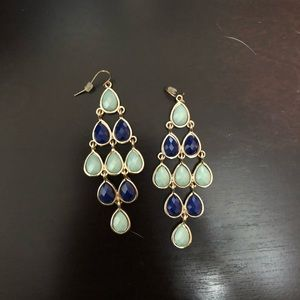 Gold and Blue Dangle Earrings